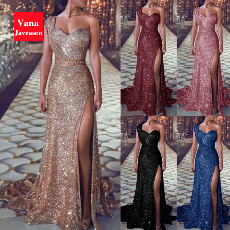 Vana Javeasen Elegant Sexy One-Shoulder Women Dress Sequined High Waist Long Dresses Summer Evening Party Trumpet Womens Dress