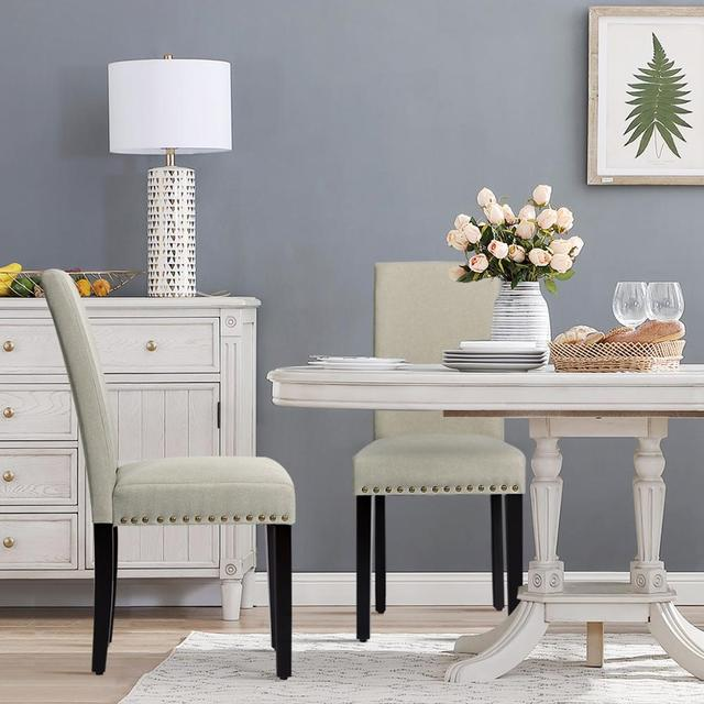 2 Fabric Dining Chairs w/ Nailhead Trim 4
