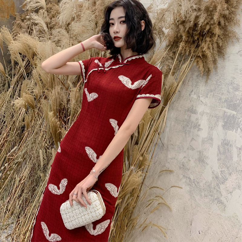 2020 Chinese Dress Elegant Lady Qipao Print Floral Rayon Satin Stage Cheongsam Chinese Traditional Style Evening Dress Vestido