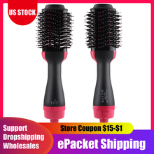 2 in 1 One Step Hair Dryer Salon Hot Air Paddle Styling Brush Negative Ion Generator Hair Straightener Curler Comb Hair Tools