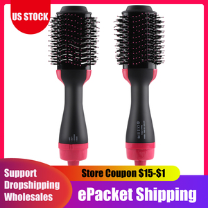 2 in 1 One Step Hair Dryer Salon Hot Air Paddle Styling Brush Negative Ion Generator Hair Straightener Curler Comb Hair Tools(China)