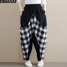 DIMANAF Plus Size Women Pants Cotton Autumn Winter Spliced Plaid Black Loose Big Trousers Pantalones Female Long 2019
