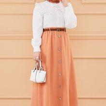 TUGBA Muslim Dugme Detail Skirt muslim dress code 2021 turkish gown hijab summer
