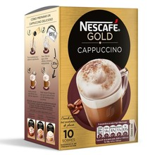 Cappuccino Nescafé Gold, 10 instant powder envelopes.