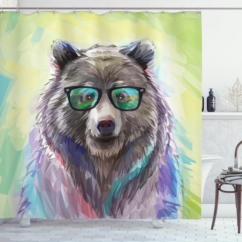 Juego de ducha de oso para decoración de baño, Set de ducha con 12 ganchos, retrato de acuarela, gafas Hipster, divertido, accesorio decorativo para Baño