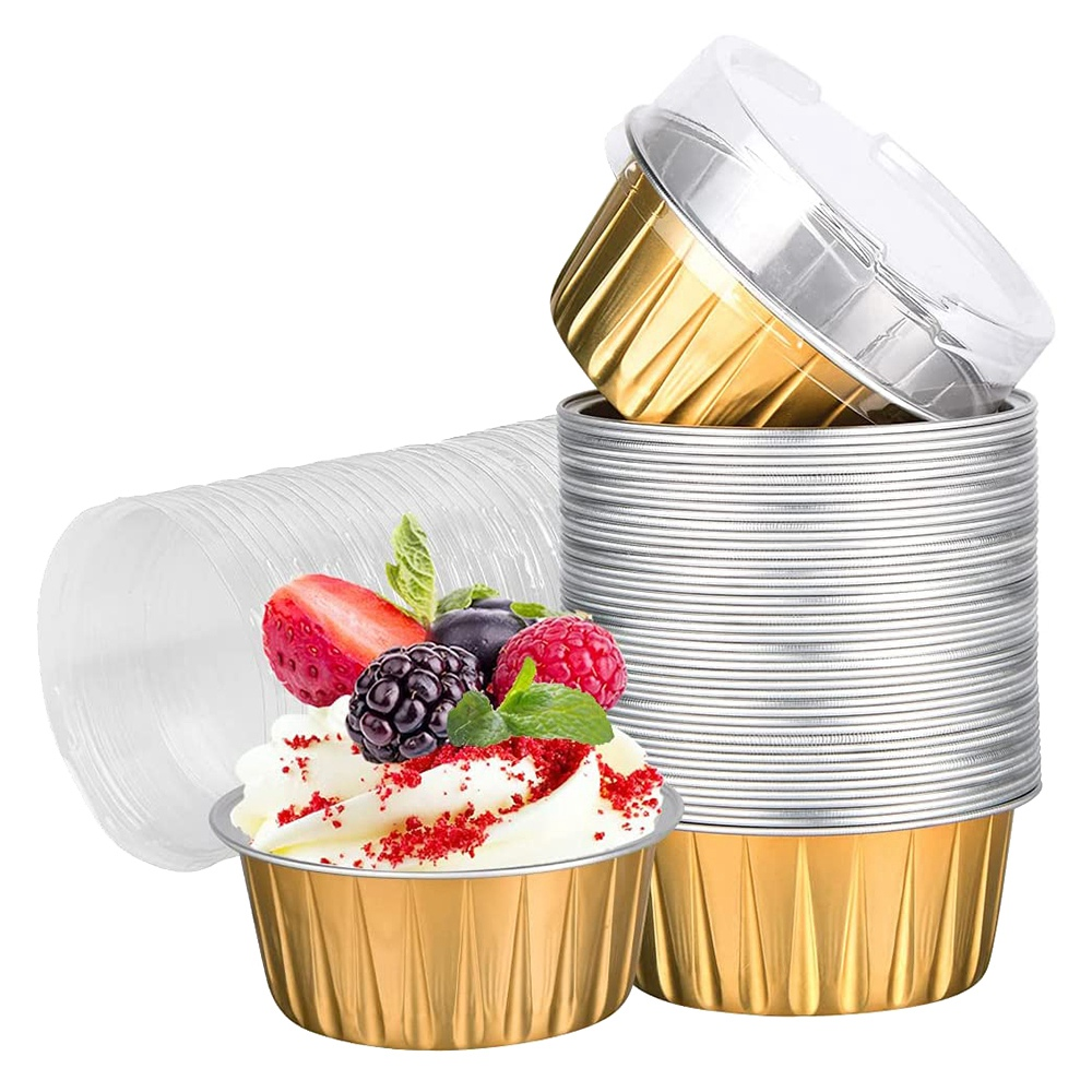 Foil Ramekins Cupcake Baking Cups Holders Cases with Lid,100Pcs Aluminum Foil Cupcake Liners,Muffin Liners Cups with Lid