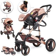 VEVOR Portable Baby Strollers 3 in 1 Gold Red Blue Infant Baby Travel System Pram Jogger High View Baby Pram Pushchair cheap CN(Origin)