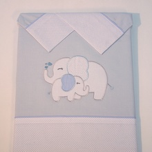 10xten set of blue elephant crib sheets