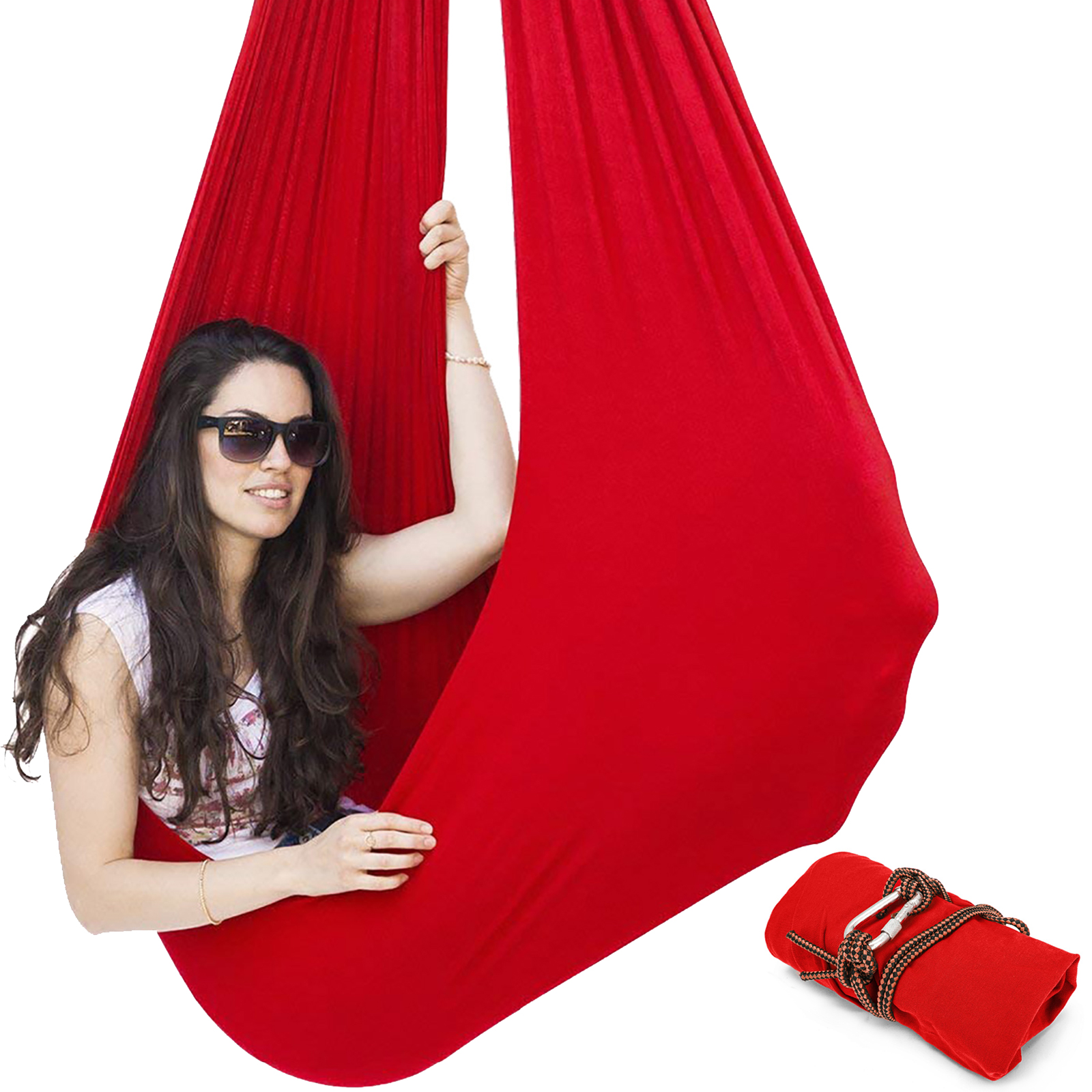 VEVOR Sensory Swing Chair Hanging Seat Adjustable Aerial Flying Yoga Hammock Sensory Hammock for Kids or Adults