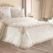 New Season Cotton Satin Fabric French Lace Special Design 6 Piece Melissa Double Blanket Set Cream