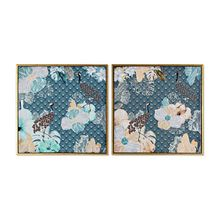 Painting DKD Home Decor Birds Turquoise Lacquered (2 pcs) (52 x 2 x 52 cm)