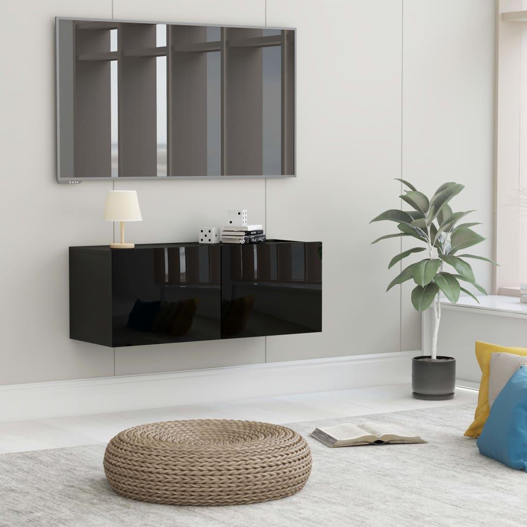 TV cabinet black shiny 80x30x30 cm chipboard