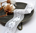 Кружево хлопок 47 мм Цветы на ажурной сетке Белый, 10 см