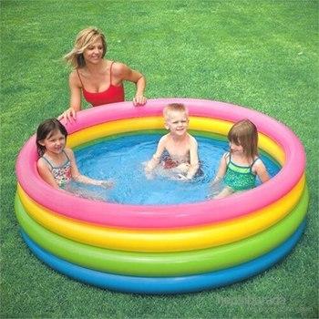 Intex Round PVC Inflatable Swimming Pool Paddling Pool Bathtub Outdoor Summer Swimming Pool Four Knotty Sunset Pool tanie i dobre opinie Drewna CN (pochodzenie)