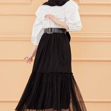 TUGBA Muslim Long Gauze Skirt muslim dress code 2021 turkish gown hijab Summer Skirt