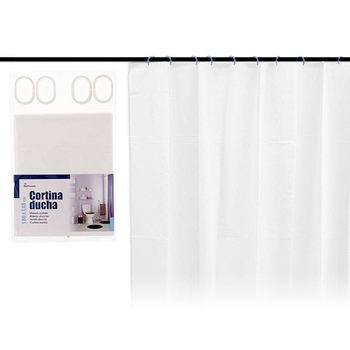 Zasłona prysznicowa biała (180 #215 180 cm) tanie i dobre opinie BigBuy Home ES (pochodzenie)