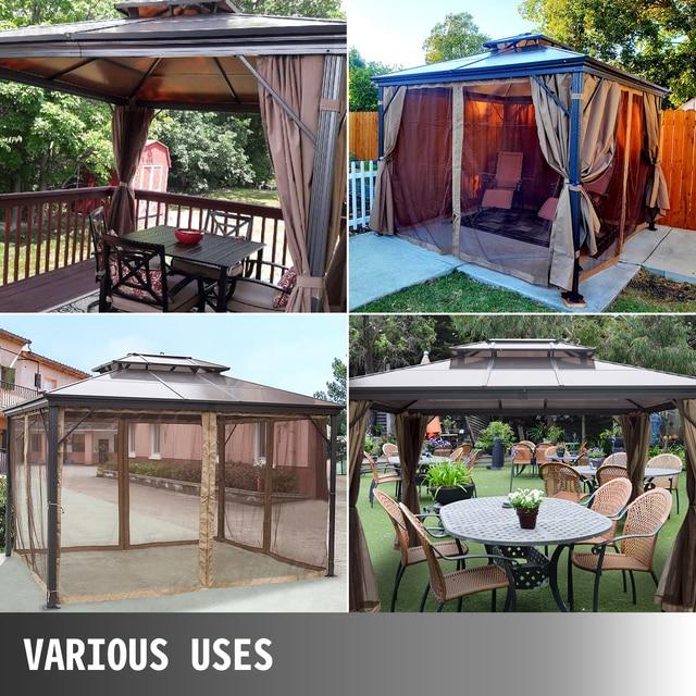 VEVOR Hardtop Gazebo 10x10ft 10x12ft with Netting Aluminum Double Tier Roof Gazebos Patios Backyard Outdoor Lawn