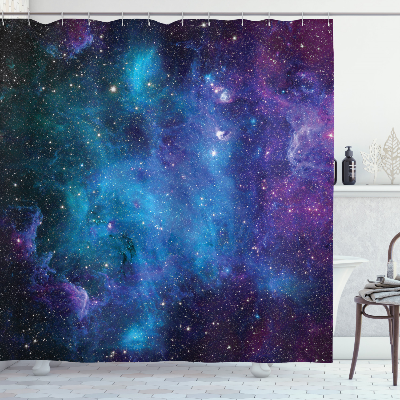 Juego de cortina de ducha con diseño de galaxia y estrellas, visillo de ducha con 12 ganchos para decoración del baño