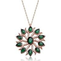 Tesbihayal Silver Green Sun Women's Necklace 1
