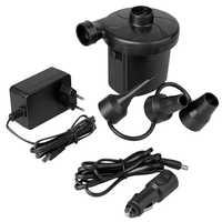 Bomba de Aire Eléctrica Inflador Eléctrico Mini Compresor 3 Boquillas Enchufe 2 Pin EU+Coche Negro para Inflar Colchón
