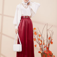 TUGBA Muslim Piliseli Skirt muslim dress code 2021 turkish gown hijab summer