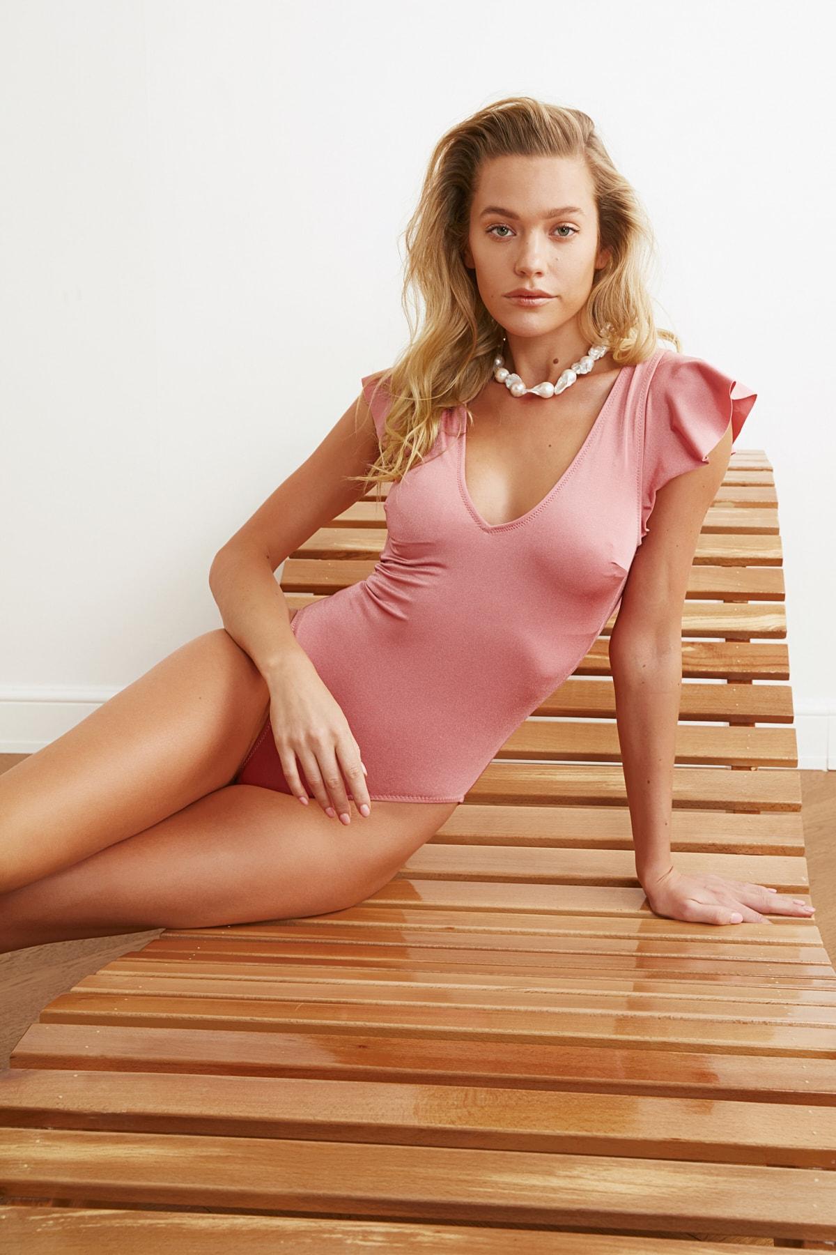 Trendyol Shoulder Detail Bright Swimwear TBESS21MA0296