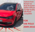 Комплект для Volkswagen Polo 6R 6C, комплект для переднего бампера, губ, спойлер, сплиттер, диффузор, 3 шт., качественный АБС-пластик, профессиональный ...