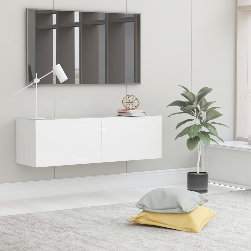 TV cabinet white glossy 100x30x30 cm chipboard