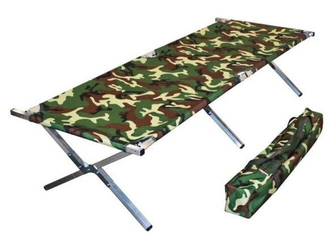Раскладушка-лежак, цвет зеленый камуфляж, чехол