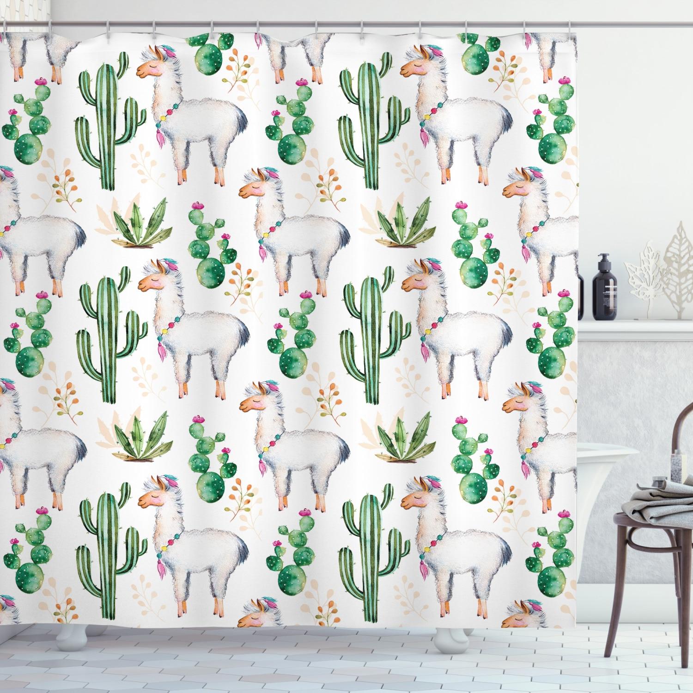 Juego de cortina de ducha con diseño de Cactus y Alpacas, accesorios decorativos para el baño, 12 ganchos