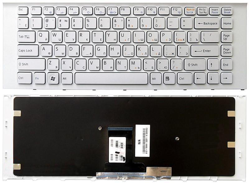 Клавиатура для Sony Vaio MP-09L16SU-886 белая с рамкой
