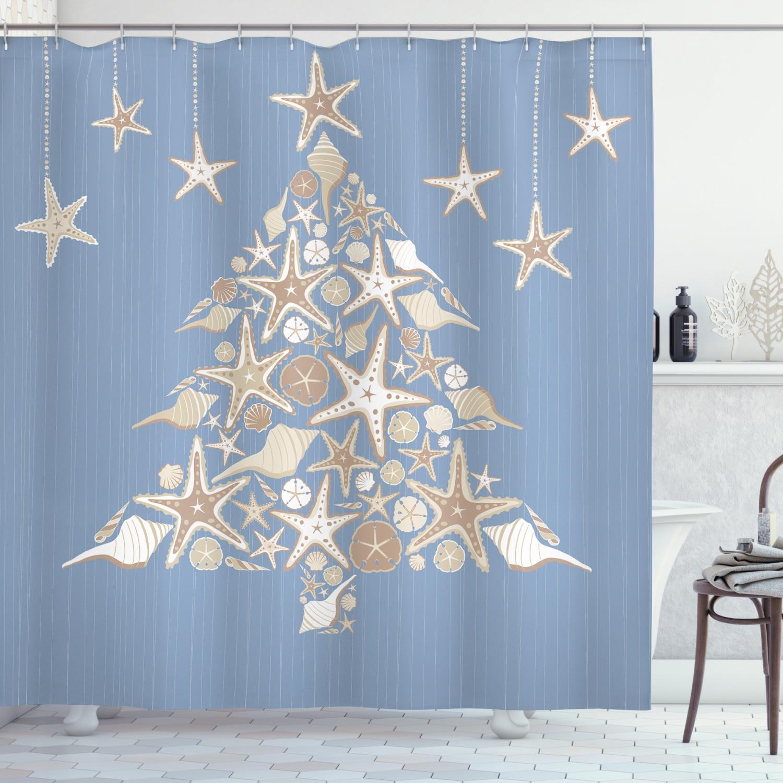 Juego de cortina de ducha de Año Nuevo, árbol de Navidad de estrella de mar Beige, cortina para decoración de baño, 12 ganchos, accesorio decorativo para Baño
