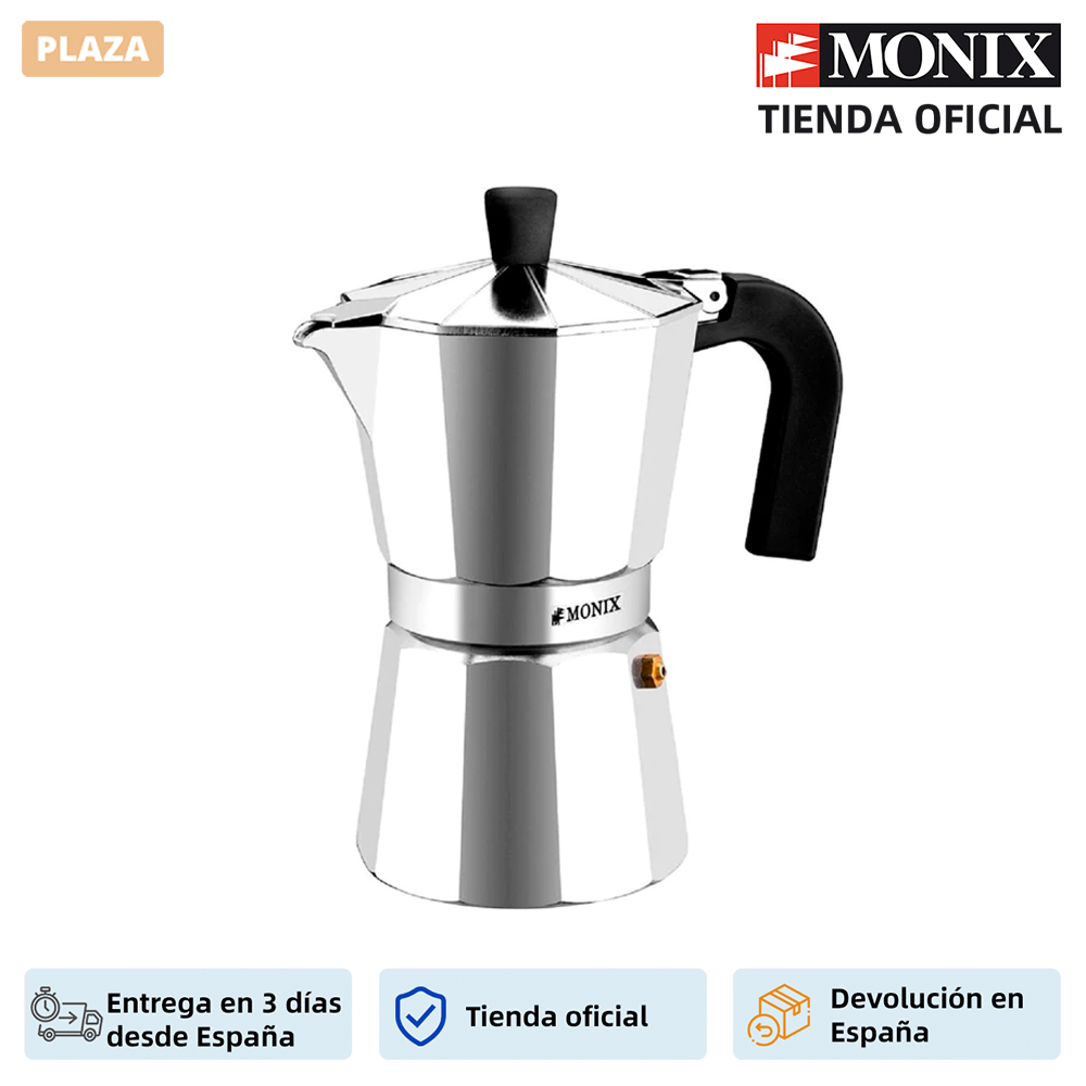 Monix Vitro Express-Italian aluminum coffee maker size between 1 and 12 cups. Suitable for all kitchens except for induction