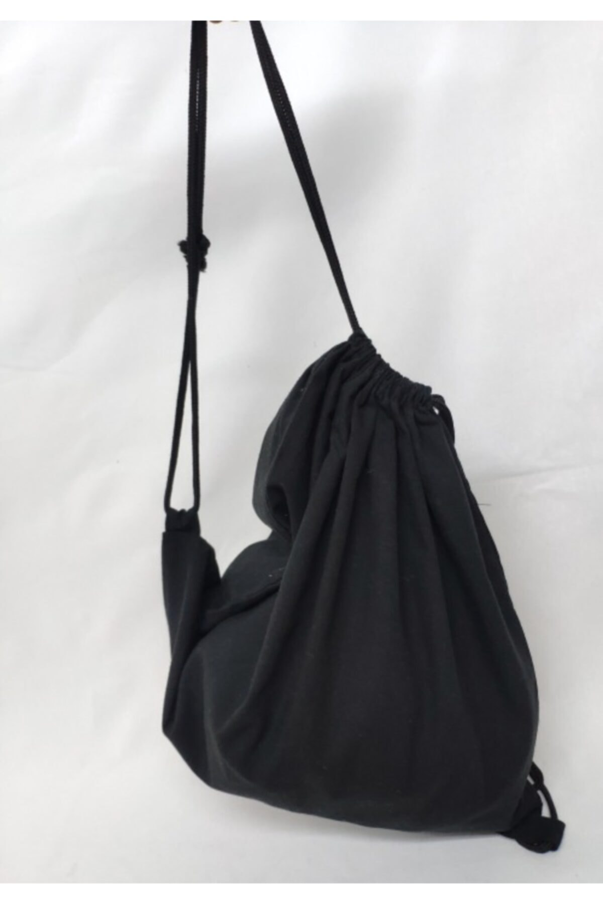 Cloth Bag Black Mouth Drawstring Backpack, Natural Cotton Material, Easy To Carry, Comfortable, Wide, hiking, Sports, travel