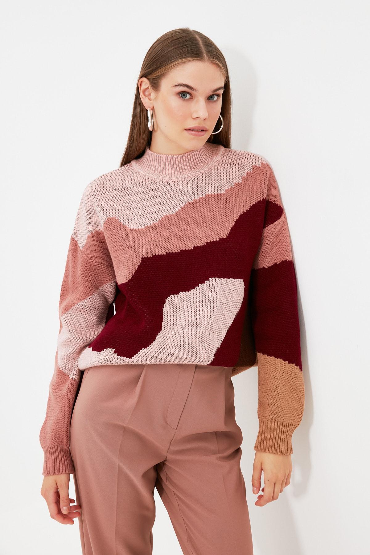 Trendyol Upright Collar Jacquard Knitwear Sweater TWOAW22KZ0014
