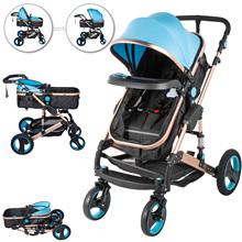 VEVOR 2 in 1 Portable Baby Stroller Blue Anti-Shock Springs Foldable Luxury Baby Stroller Adjustable High View Pram Stollers fo cheap CN(Origin)