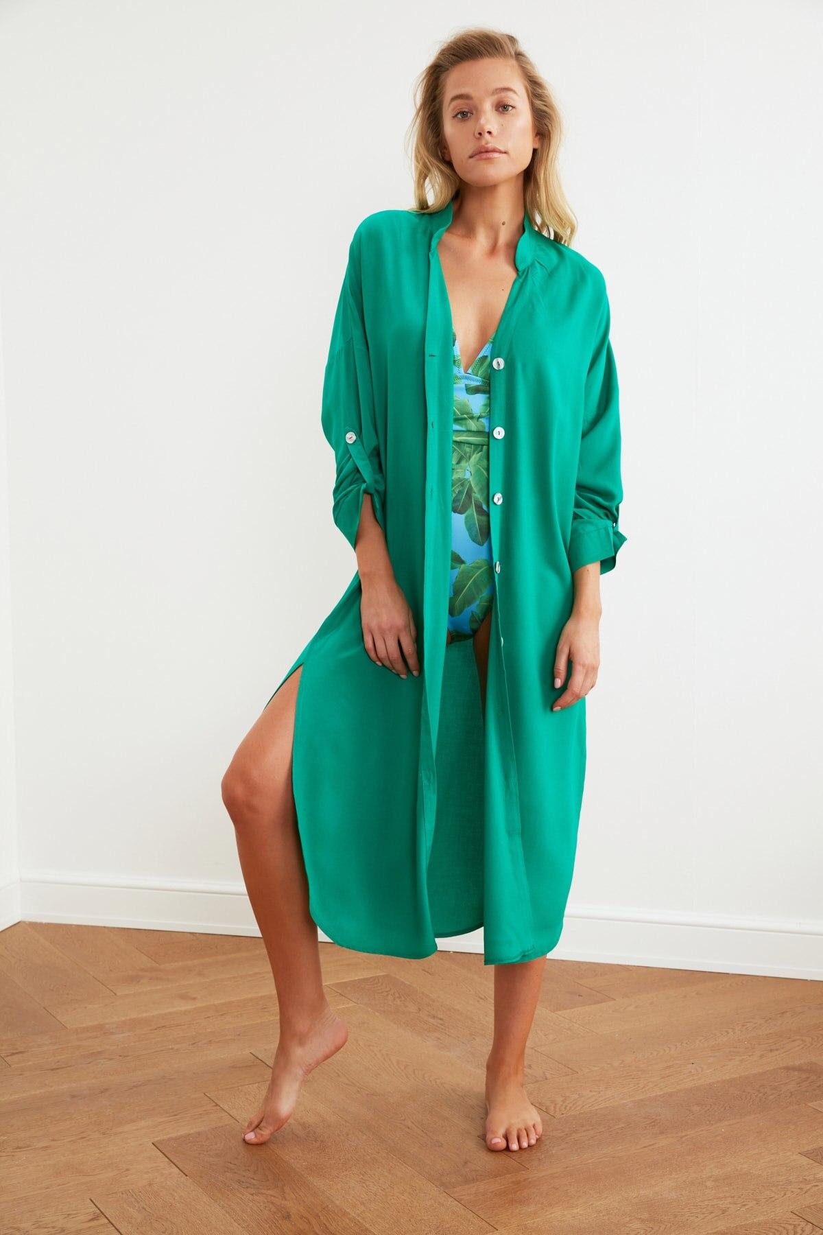 Trendyol Shirt-Shaped Beach Dress TBESS21EL3318