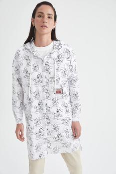 DeFacto Women Raw White Mickey Mouse licencjonowany Relax Fit bluza z kapturem Tunik tanie i dobre opinie TR (pochodzenie) Turkey