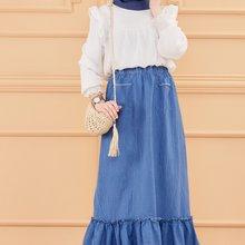 TUGBA Muslim Skirt Pockets muslim dress code 2021 turkish gown hijab summer