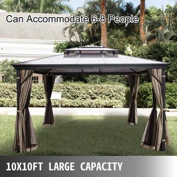 VEVOR Hardtop Gazebo 10x10ft 10x12ft with Netting Aluminum Double Tier Roof Gazebos Patios Backyard Outdoor