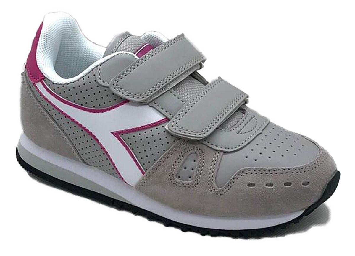 DiIADORA-zapatillas De Deporte C8217 Para Niña, Color Gris Con Logo, Rosa Y Blanco