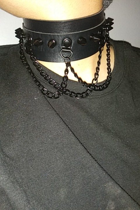 Black Choker With Spikes and Chains Pastel gothic E-girl photo review