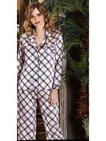 Jeremi 3186 Silk Satin Plaid Turndown Collar Buttoned Pocket Home Comfortable Cool Wearable Women Pajamas Set Sizes S M L XL