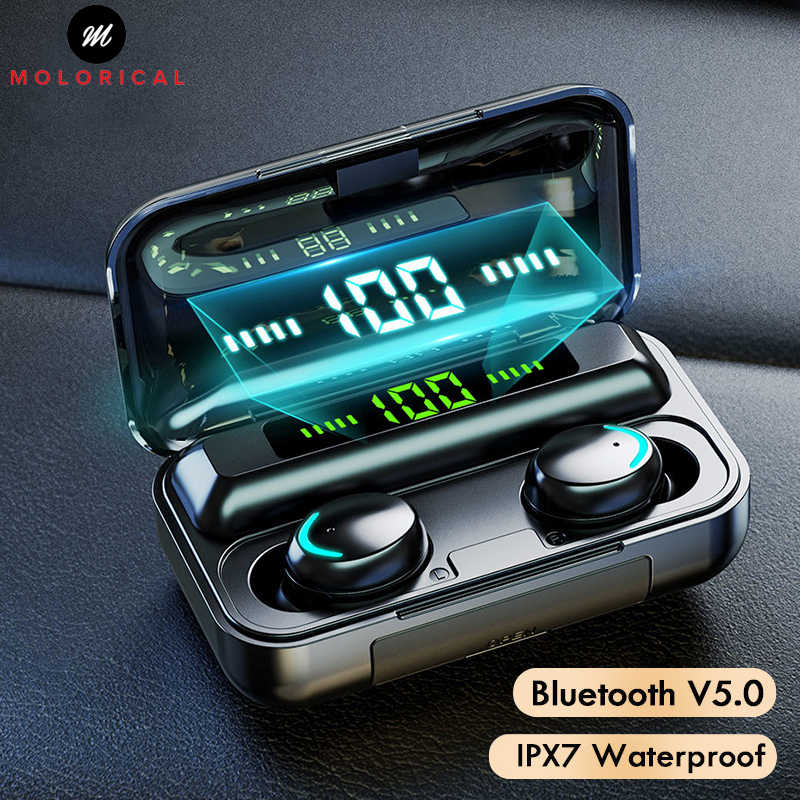 Touch Kontrol Nirkabel Bluetooth Earphone Headphone LED Display Benar Earbud Nirkabel Olahraga Headset HI FI 8D Stereo untuk Ponsel