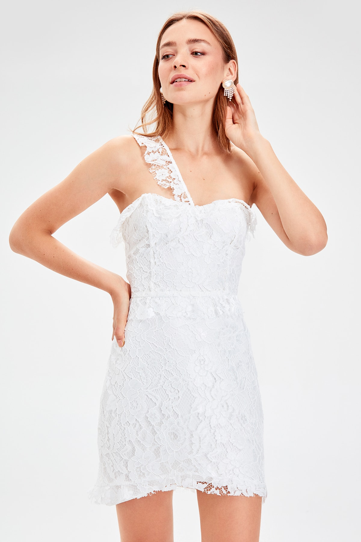 Trendyol From Shoulder Ribbon Detail Lace Dress TPRSS19WU0028