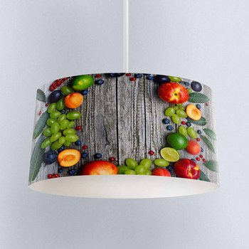 Else Gray Wood n Grapes Peach Fruits Printed Fabric Kitchen Chandelier Lamp Drum Lampshade Floor Ceiling Pendant Light Shade