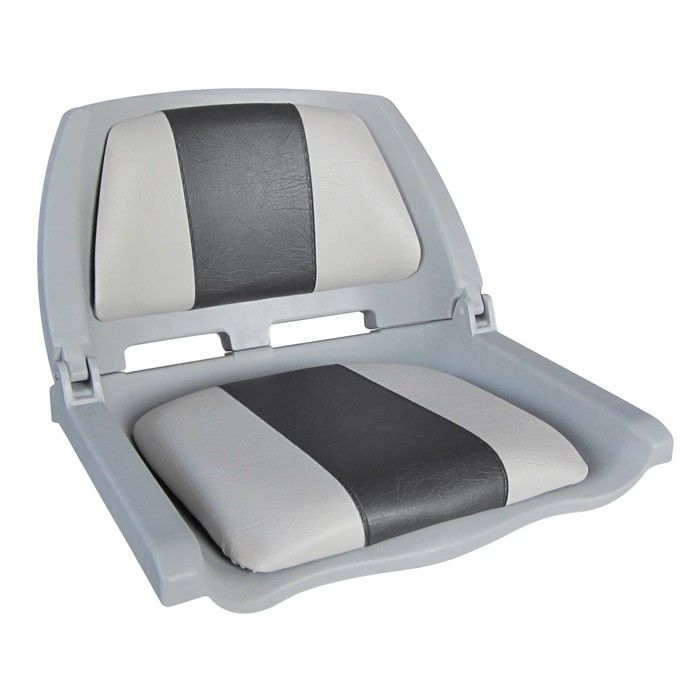Chair Plastic Folding With Backing Molded Fold-down Boat Seat, Gray/black 75109gc