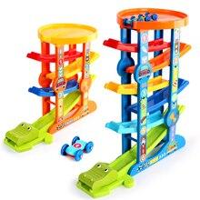 7 katmanlı rampa yarış pisti & 6 Mini atalet araba sürgülü oyuncaklar bebek yürümeye başlayan Motor beceri gelişim öğretici oyuncaklar çocuk çocuk hediye