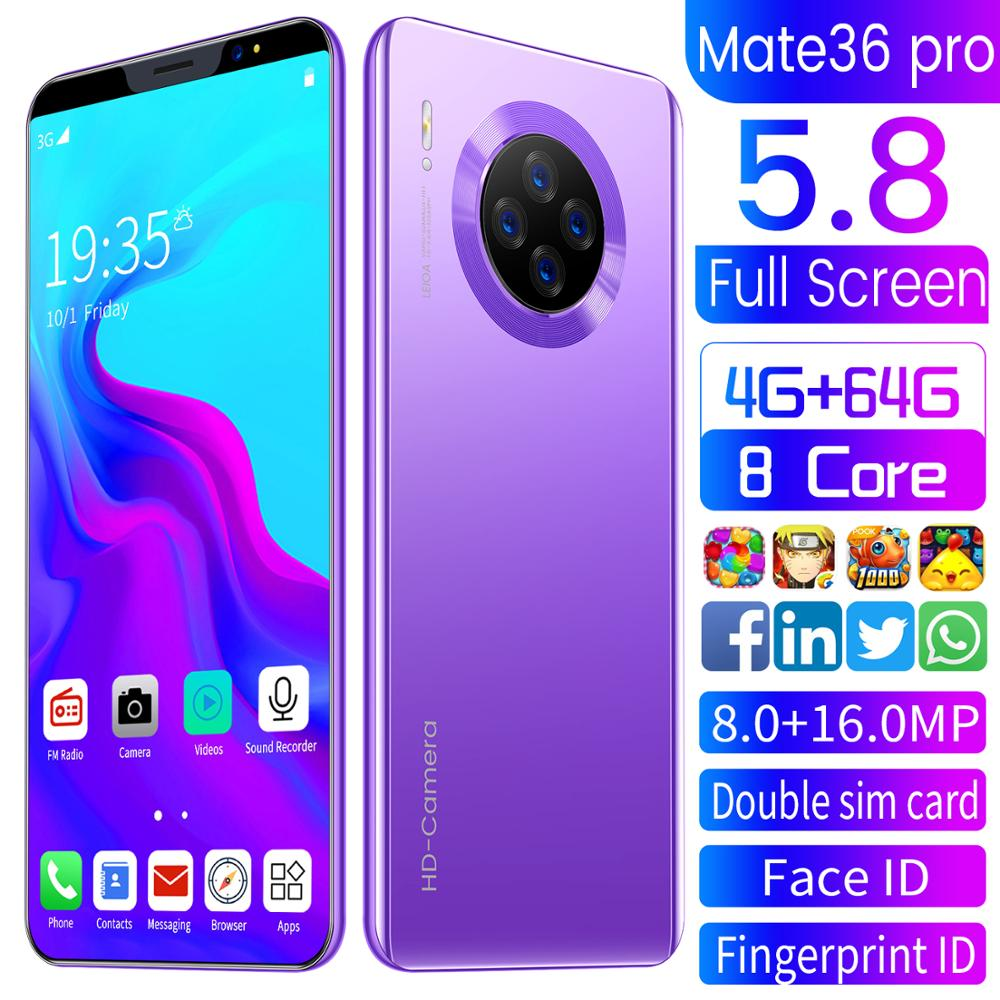 Mate 36 pro 5.71'' 8GB+256GB Octa-Core Cellphones HD 4 Carmera Android 9.1 Smartphones Universal Network Dual SIM Mobile Phone