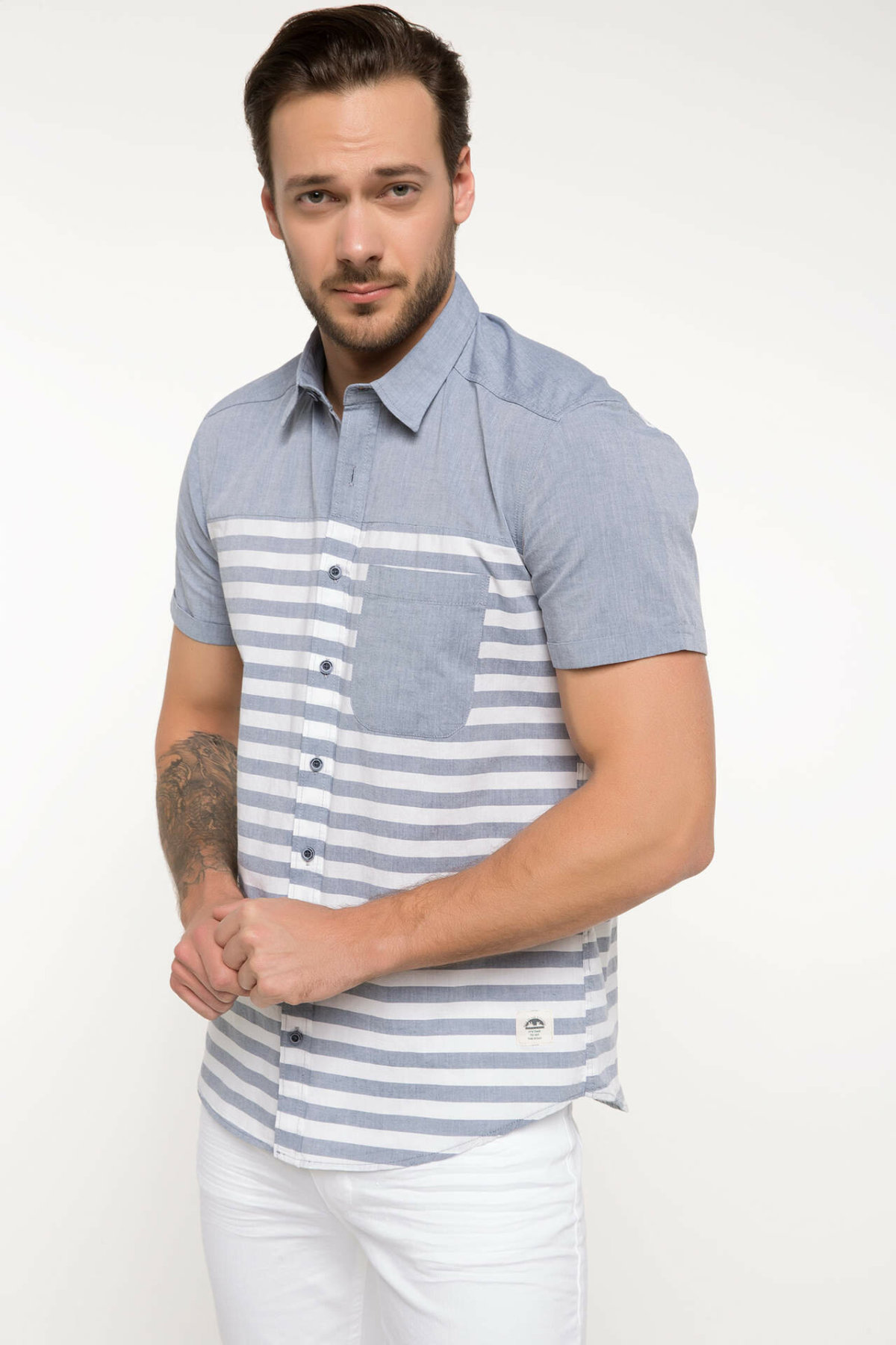 DeFacto Men Fashion Simple Shirts Short Sleeve Striped Shirts Mens Casual Lapel Collar Casual Shirt New-I6389AZ18SM